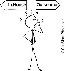 Cartoon Illustration of Business Man Doing In-House or Outsource Decision