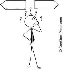 Cartoon Illustration of Business Man on the Crossroad