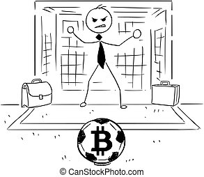 Cartoon Illustration of Businessman as Soccer Football Goal Keeper Catching Bitcoin Ball