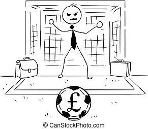 Cartoon Illustration of Businessman as Soccer Football Goal Keeper Catching Pound Ball