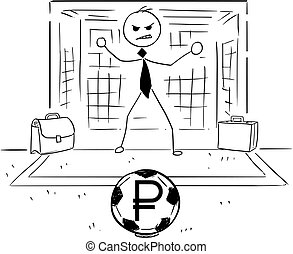 Cartoon Illustration of Businessman as Soccer Football Goal Keeper Catching Ruble Ball