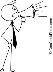 Cartoon Illustration of Businessman, Boss or Manager Talking with Megaphone