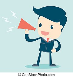 Cartoon Illustration of  Businessman Speaking with a Megaphone. Vector.