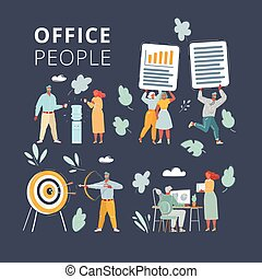 Cartoon illustration of Businessteam working together on project set. People on dark background. Office team working at workspaces. Work with files, cooler, aim and bow arrow