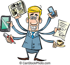 busy businessman - cartoon illustration of busy businessman...