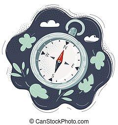 Cartoon illustration of compass on dark background.
