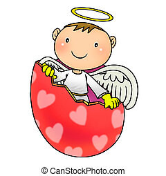 birth - Cartoon illustration of cute angel birth from egg...