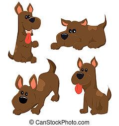 cartoon illustration of dog icons set