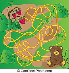 Cartoon Illustration of Education Maze or Labyrinth Game