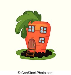 Cartoon illustration of fantasy carrot house with small...