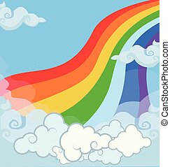 Cartoon vector bright colored baby illustration of fantasy magical landscape rainbow in cloudy sky. Abstract texture with clouds close up view and copy space template. Unicorn fairytale background