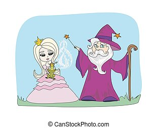 Cartoon illustration of Fantasy Wizard with Magic Wand Casting a Spell and Enchanted Frog