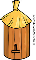 cartoon illustration of farm bee hive