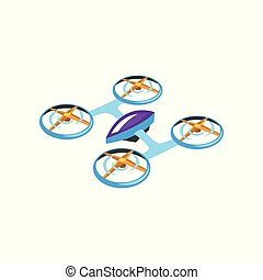 Cartoon illustration of flying drone. Radio controlled quadrocopter with four propellers. Modern technology. Flat vector for promo poster or banner