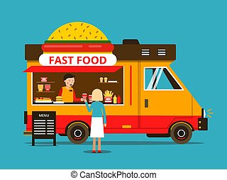 Cartoon illustration of food truck on the street. Vector pictures in flat style