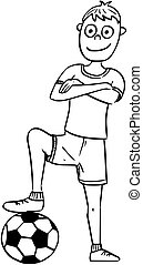 Cartoon Illustration of Football Soccer Player Posing with a Ball.