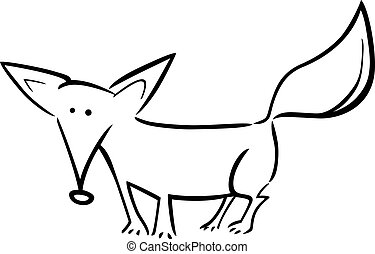 cartoon illustration of fox for coloring
