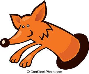 Fox in burrow - Cartoon illustration of Fox in burrow