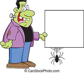 Frankenstein holding a sign
