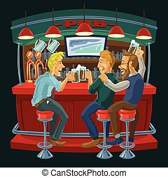 Cartoon illustration of friends drinking beer in a bar -...