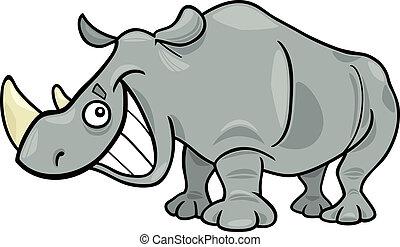 cartoon illustration of funny african rhinoceros