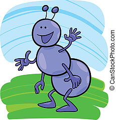 funny ant - cartoon illustration of funny ant