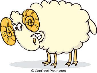 cartoon illustration of funny happy ram