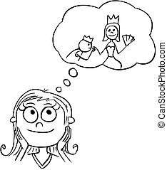 Cartoon Illustration of Girl Dreaming About Live of Princess