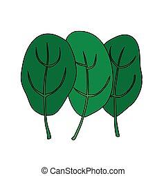 Cartoon illustration of green fresh spinach. Vegetarian...