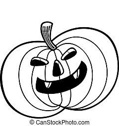 Halloween pumpkin for coloring book