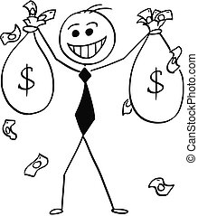 Cartoon Illustration of Happy Business Man with Money Bags in Hands