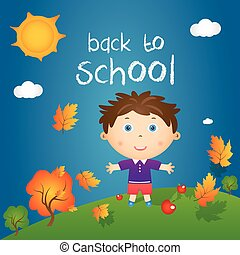 "Cartoon illustration of happy little boy in autumn landscape with quote ""back to school"". Vector"