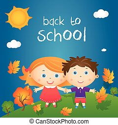 """Cartoon illustration of happy little girl and boy in autumn landscape with quote """"back to school"""". Vector"""