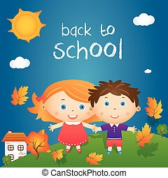 "Cartoon illustration of happy little girl and boy in autumn landscape with quote ""back to school"". Vector"