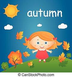 Cartoon illustration of happy little girl in autumn landscape. Vector