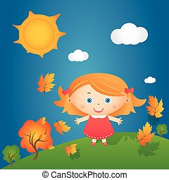 Cartoon illustration of happy little girl in autumn landscape. Vector