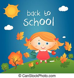 "Cartoon illustration of happy little girl in autumn landscape with quote ""back to school"". Vector"