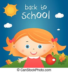 """Cartoon illustration of happy little girl in autumn landscape with quote """"back to school"""". Vector"""
