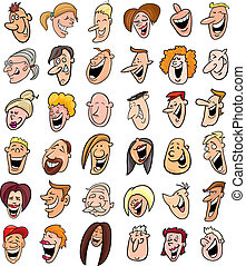 huge set of laughing people faces - cartoon illustration of ...