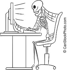 Cartoon Illustration of Human Skeleton of Dead Businessman Sitting in Front of Computer in Office