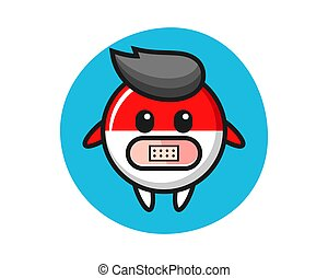 Cartoon illustration of indonesia flag badge with tape on mouth