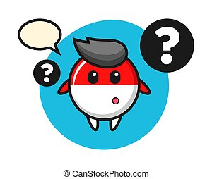 Cartoon illustration of indonesia flag badge with the question mark