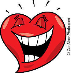 laughing heart - cartoon illustration of laughing heart
