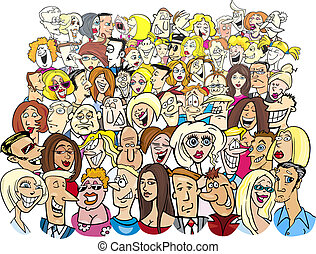 cartoon illustration of many different people in the crowd