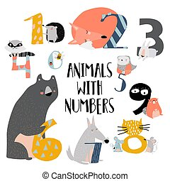 Cartoon illustration of numbers set from one to nine with woodland animals