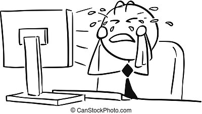 Cartoon Illustration of Office Worker Clerk Manager Crying...