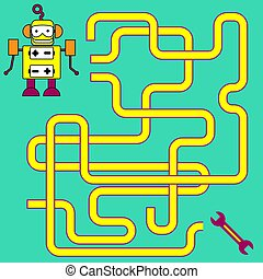 Cartoon Illustration of Paths or Maze Puzzle Activity Game. Kids learning games collection