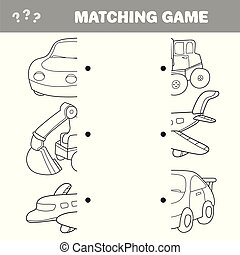 Cartoon Illustration of Preschool Education Activity with Matching Halves Game