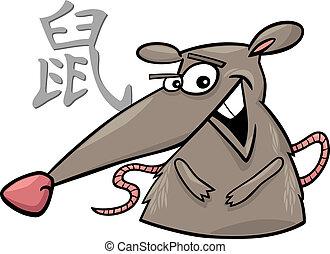 Rat Chinese horoscope sign - cartoon illustration of Rat...