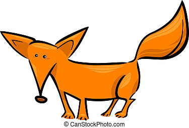 cartoon illustration of red fox - cartoon doodle...